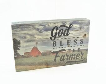 God Bless The Farmer Pallet Box Sign 7.5 x 12