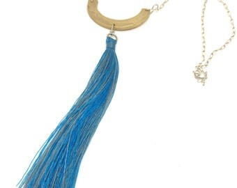 Bronze Shield Tassel Necklace