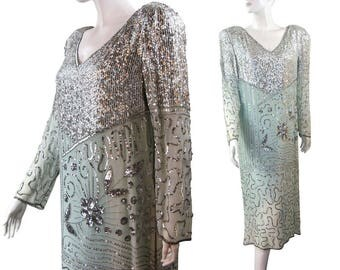 SALE Vintage 80s Sequin & Silk Party Dress, Silver and Ombre Green by Swee Lo
