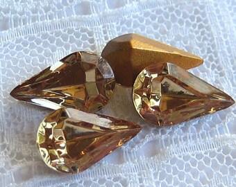 13x8 Swarovski Light Colorado Topaz Pear Rhinestone Glass Jewels Qty 4