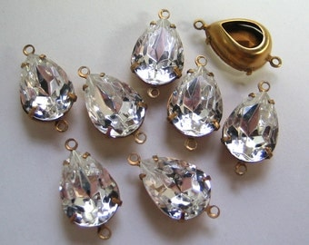 14x10 Swarovski Clear Pear Mounted in Brass Prong Setting Quantity 8