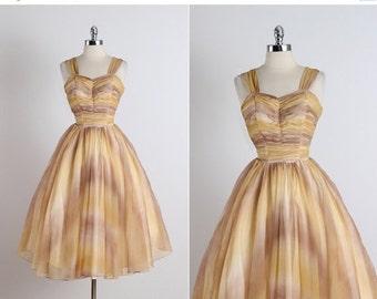 30% SALE Moab Sunset .  vintage 1950s dress . vintage cocktail dress . 5321