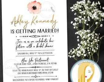 Bohemian Bridal Shower Invitation, Boho Invite, Watercolor, Simple, Nature, Pink Orange Gold Foil, DIY, Printed or Printable Invites