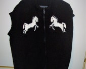 CUSTOM KNIT for Nancy MENS Vest 3xl, 4xl Hand Knit Black and White Horses