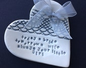 Silver grey mother father of the bride ring plate keeper thank you ceramic heart gift