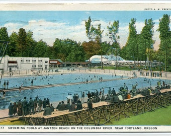 Swimming Pool Jantzen Beach Columbia River Portland Oregon 1930 postcard
