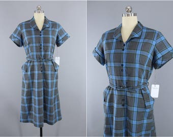 Vintage 1950s Dress / 50s Day Dress / Blue Plaid Cotton Dress / Dan River