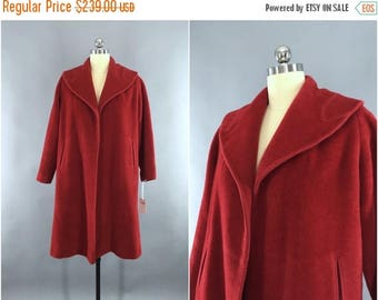 SALE - Vintage 1940s Coat / 1950s Swing Coat / 1950 New Look / 40s Red Wool Winter Coat / Size L Large 10