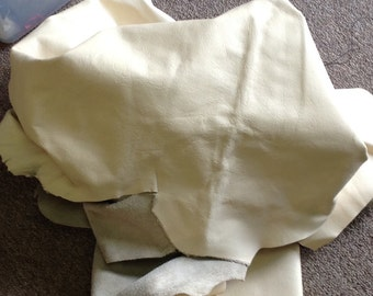 BASK222. Cream Leather Cowhide Partial