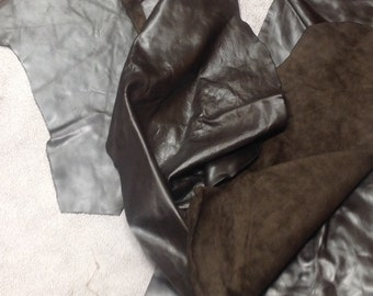 CLFE85.  Titanium Package of 2 Leather Cowhide Remnants