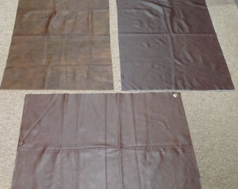 M343. Package of 3  Brown Leather Cowhide Partials
