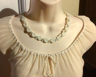 Etched Milk Glass Button Necklace