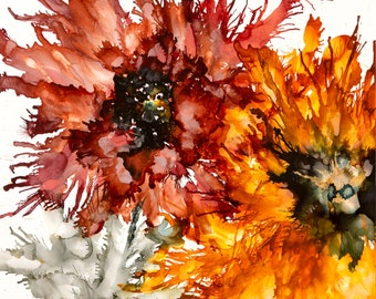 Art Print of fall flowers with rusty reds, butterscotch yellows, black, gray and gold.