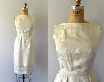 1950s Vintage Dress - 50s Ivory Rose Print Satin Cocktail Dress