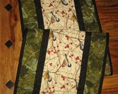 "Mountain Chickadees Table Runner, Quilted, 13 x 46"", Reversible, 100% cotton fabrics"