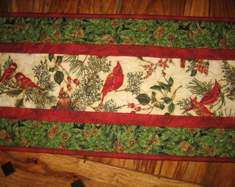 "Cardinals Red Birds Pine Cones Christmas Table Runner Quilted, 13 x 46"", Reversible, Winter Table Decor"