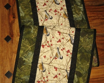 """Mountain Chickadees Table Runner, Quilted, 13 x 46"""", Reversible, 100% cotton fabrics"""