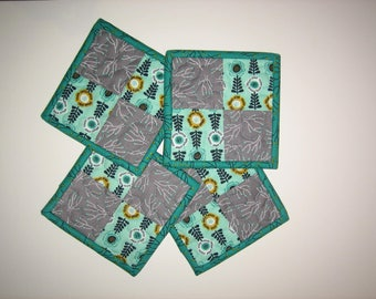 """Fabric Coasters, Teal and Gray Contemporary, Reversible Drink Mats, 5x5"""""""