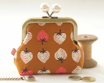 NEW Bronze metal frame coin purse/ jewelry purse/pearl white bobbles/white and pink strawberries on ocher brown/Cotton and Steel/Kim Kight