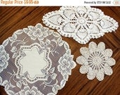 ON SALE 3 Assorted Crochet and Lace Doilies, Heritage Lace Doily, Whites and Ecru Lot 13568