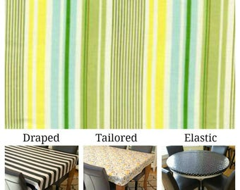 Laminated cotton aka oilcloth tablecloth custom size and fit choose elastic, tailored, or draped Heather Bailey Slim Dandy stripes green