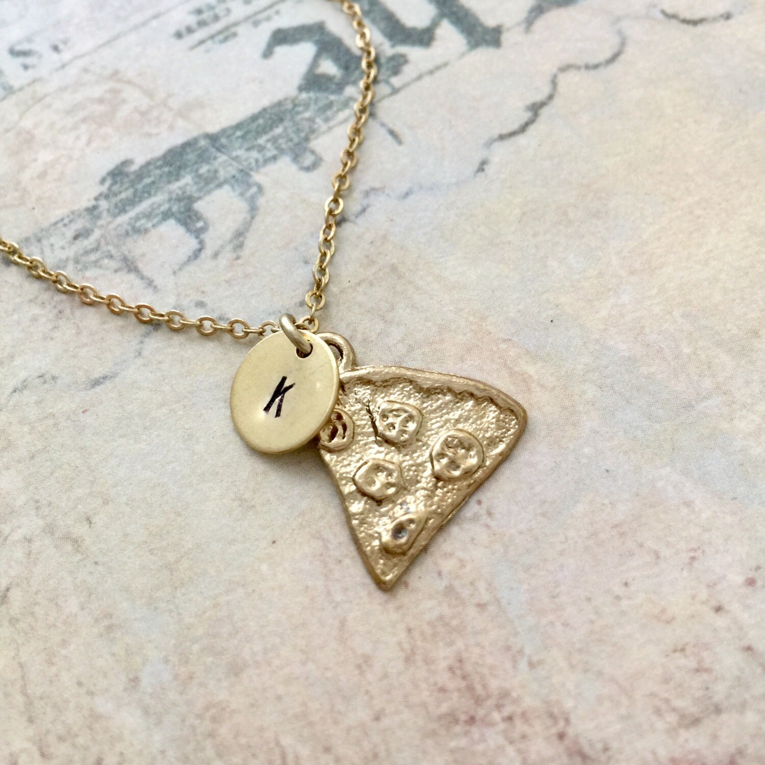 pizza necklace initial necklace sted necklace best