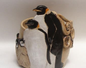 A Pair Of Penguins With Some Babies Yarn bowl, Stoneware Ceramic Yarn Bowl,