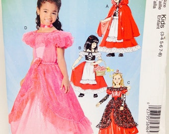 Uncut, Girls Size 3 4 5 6 7 8, McCalls Costumes Sewing Pattern MP260, Story Book Character, Little Red Riding Hood, Dress Up