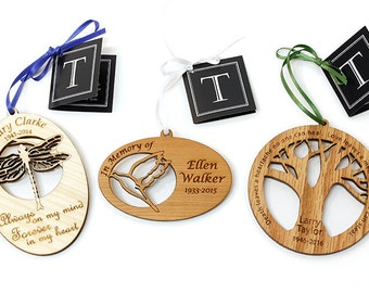 Personalized Memorial Ornament. Remember Loved Ones with this Custom Engraved Memorial. Oak, Cherry, or Maple.