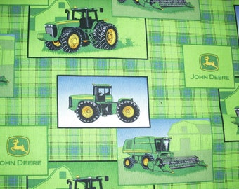 John Deere green plaid with tractors-  Cotton Fabric - 15 inches wide and 36 inches long