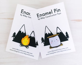 Happy S'more and Campfire Enamel Pin Set