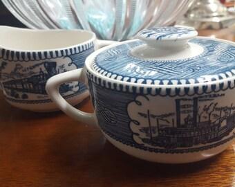 Vintage Currier & Ives  Sugar Bowl and Creamer