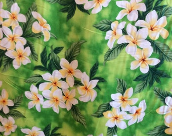 Classic Hawaiian Print with Plumeria Flowers  (Yardage Available)