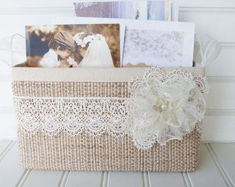 Coastal wedding basket with lace for cards and photos