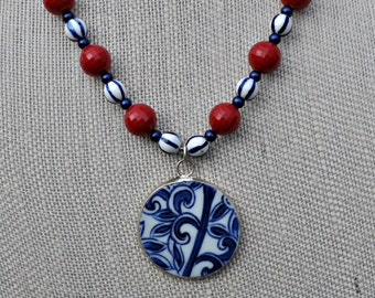 Red White and Blue Pottery Shard Necklace