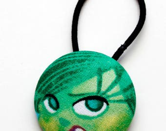 Disgust Inside Out Fabric Covered Giant Button Ponytail Holder