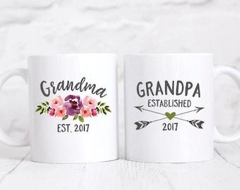 Pregnancy Reveal to Grandparents Baby Announcement Grandparents Pregnancy Announcement Grandparents Mug Set Grandma Mug Grandpa Gift Pink