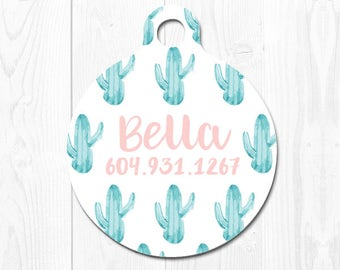Cactus Dog Tag Cat Tag Personalized Dog Tags for Dogs Pet id Tag Pink Dog id Tag Cat Tags Green Dog Tag Pet Gift Pink Custom Dog Tag