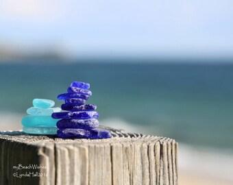 Beach Glass Photo- Peaceful Pair, Sea Glass Cairns, Calming Wall Art, Balance, Zen Decor, Dreamy Bokeh, Macro, Meditation, Coastal Photo Art