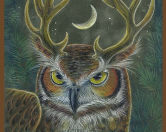 Great Horned Owl Stag Print