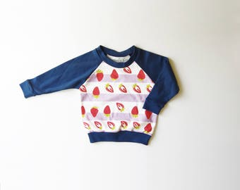 SALE | 25% OFF | Size 12-18 Months | Strawberries | Organic Cotton Long Sleeve Raglan | Pink Navy and Lavender | Baby Girl
