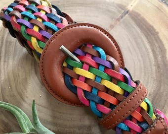 Vintage Braided Leather Belt // 38 inch waist