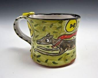 Medium Ceramic Coffee Mug - Brindle Greyhound Dog - Pottery Mug - Clay Majolica Mug -  Olive Green - 12 ounces - Coffee Cup - Gift for Her