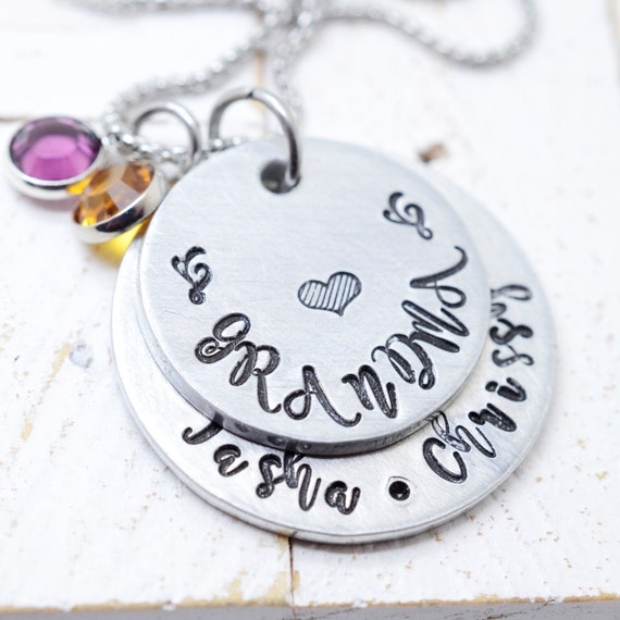 Grandma Necklace, Nana Necklace, Kids Name Necklace, Birthstone Necklace, Mommy Jewelry Women, Dainty Name Necklace, Christmas Gift, Mother