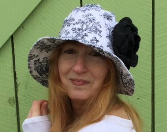 Black and white linen  toile cloche, bucket, sun hat, casual hat, garden party
