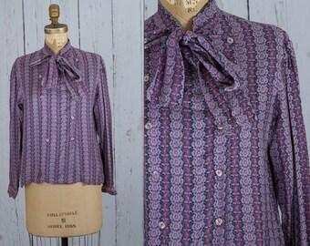 vintage 1950s purple bow blouse