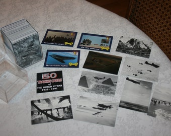 Vintage 150 Trading Cards of The World At War 1939 - 1991 Plastic Clear Stroage Box