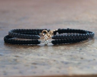 SALE items ship March 1st Diamond Friendship Bracelet in 14k solid gold, minimalistic jewelry
