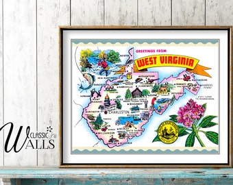 WEST VIRGINIA MAP - West Virginia Postcard, Map of West Virginia, West Virginia Decor, Charleston, Parkersburg, Harper's Ferry, Wheeling