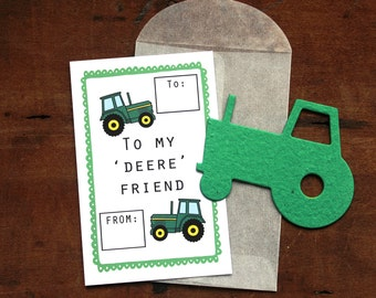 Tractor Valentines- SET OF 8 - includes color printed card, seed paper, and glassine envelope- choose from 16 seed paper colors